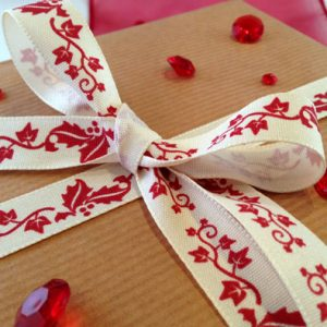 Red Holly Christmas Printed Ribbon