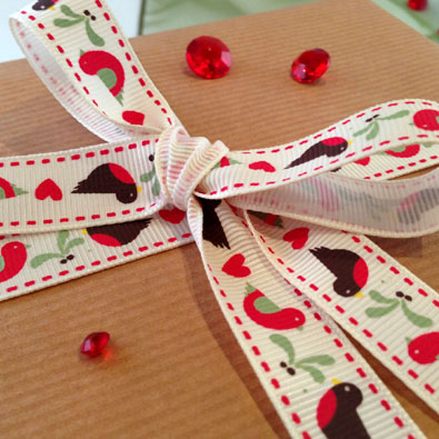 Partridge & Mistletoe Printed Christmas Ribbon