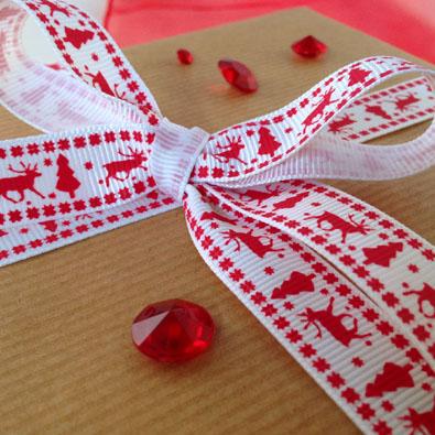 Reindeer & Tree Printed Christmas Ribbon