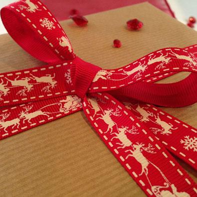 Santa Sleigh Printed Christmas Ribbon