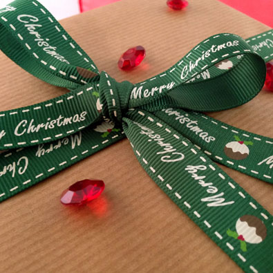 Green Pudding Printed Christmas Ribbon