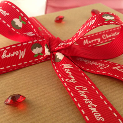 Red Pudding Printed Christmas Ribbon