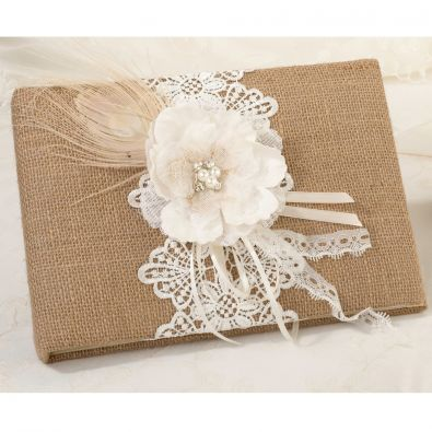 Hessian Lace Wedding Guest Book