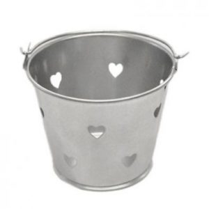 Silver Miniature Heart Bucket