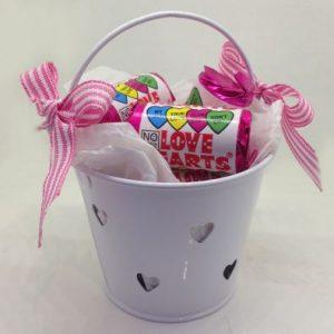 White Miniature Heart Buckets