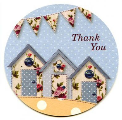 Vintage Beach Huts Thank You Cards
