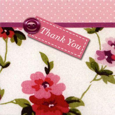 Vintage Floral Pink Thank You Cards